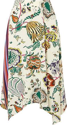 7415f486da Tory Burch Marie Printed Silk Crepe De Chine Midi Skirt - Green