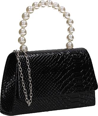 Swankyswans Grace Flapover Faux Pearl Croc Effect Womens Party Evening Clutch Bag Black