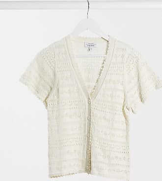 & Other Stories open knit short sleeve cardigan in cream