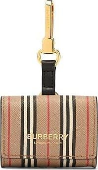 Burberry Icon Stripe Leather Earphone Case - Womens - Beige Multi