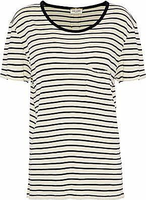 c34ed0ed98 Saint Laurent Saint Laurent Woman Striped Silk-jersey T-shirt Black Size L