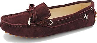 MGM-Joymod Ladies Womens Casual Slip-on Knot Brown Suede Leather Walking Driving Loafers Flats Moccasins Hiking Shoes 6.5 M UK