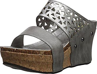 f82cab4fb1a38 Volatile Womens BAYSWATER Wedge Sandal Pewter 10 M US