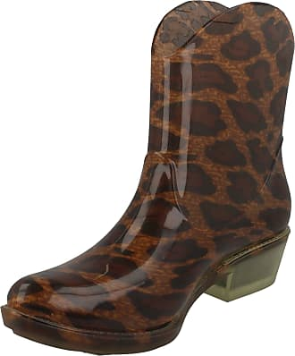 Spot On Chunky Heel Cowgirl Ankle Boot Welly - Tan Leopard Size UK 6