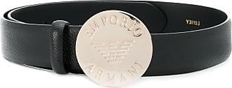 Emporio Armani engraved buckle belt - Black