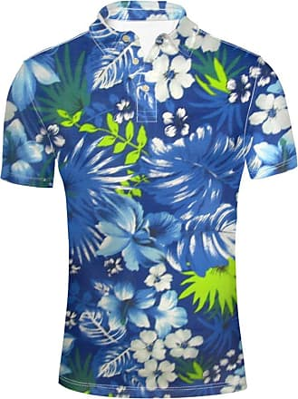 Hugs Idea Mens Polos Shirts Hawaiian Tropical Short Sleevee Hibiscus Leaf Pattern Summer T-Shirt