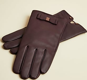 Ted Baker Bow Detail Leather Gloves in Oxblood BBLAKE, Womens Accessories