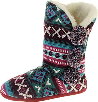 Footwear Studio Dunlop Womens Burgundy Green Tall Slipper Boots UK 5-6