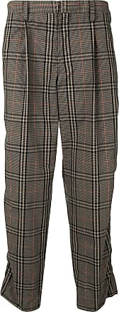 Kolor straight-leg check cropped trousers - Brown