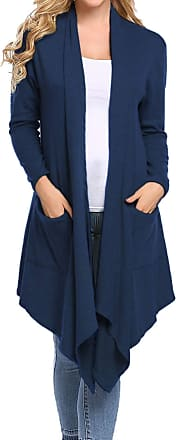 Abollria Womens Cardigans Autumn Winter Lightweight Long Sleeve Waterfall Open Front Midi Long Cardigan with Pockets Navy Blue