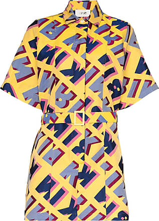 Kirin logo-print jacquard shirt dress - Yellow