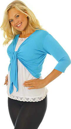 Nouvelle Collection New Womens Plus Size Shrug Ladies Top Front Tie Outwear 3/4 Sleeves Soft Sale Turquoise 12-14