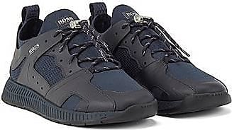 BOSS Leather-trimmed trainers with reflective knit
