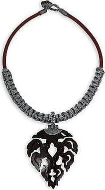 NOVICA Coconut Shell Pendant Necklace Four Flowers