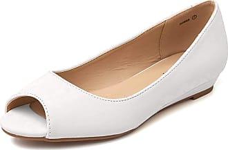 Dream Pairs Dories Womens Peep Toe Ballet Slip On Flats Shoes White Pat Size 7.5 US/5.5 UK