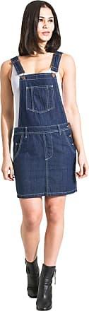 Uskees Short Denim Dungaree Dress - Dark Blue Bib-Skirt CICELYRINSED-18