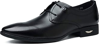 LanFengeu Men Formal Leather Shoes Pointed Toe Breathable Oxford Lace up Derbys Office Work Lightweighht Non Slip Business Dress Shoes Black