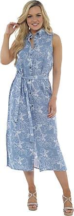 Lora Dora Womens Linen Dress Button Down Blue Flower Pattern UK 16