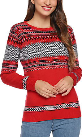 Aibrou Women Pullover Crew Neck Thick Sweater Ladies Vintage Print Soft Warm Stretchy Ribbed Long Sleeve Chunky Christmas Sweater Jumper Knitwear Top(Red + W