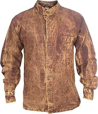 Gheri Mens Thick Stonewashed Button Down Dusky Casual Shirt Tops Brown XXX-Large