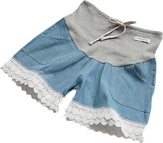 Hellomiko Summer Pregnant Women Loose Lace Denim Casual Stomach Lift Shorts