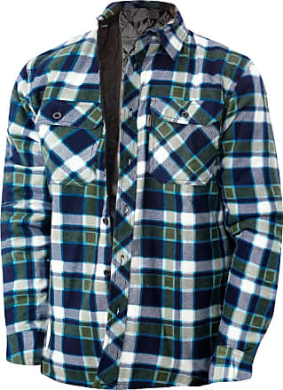 JD Williams Mens Flannel Padded Work Shirt Yarn Dyed Quilted Lumberjack Jacket Regular & Big [Navy Green - RiverRoad Quilted, M]