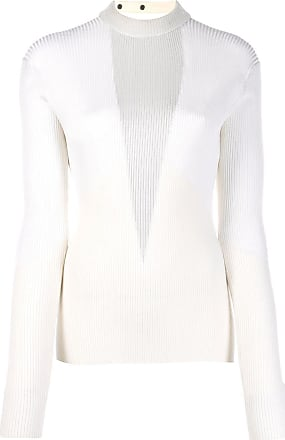 Zilver ribbed knitted top - White