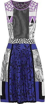 Etro Etro Woman Pleated Cotton And Silk-blend Jacquard Dress Royal Blue Size 46