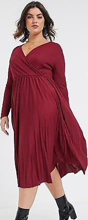 River Island Plus pleated wrap midi dress in burgundy-Red
