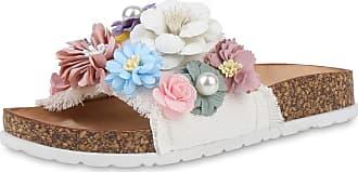 Scarpe Vita Women Sandals Mules Flower Cork Look 193828 White UK 5 EU 38