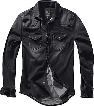 Brandit Riley Denim Shirt Men Jeans Shirt Black 3XL, 75% Cotton, 24% Polyester, 1% Elastane, Regular