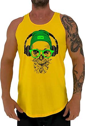 MXD Conceito Regata LongLine Masculina Cavada MXD Conceito Green Glasses Skull Long Line (Amarelo, EG)