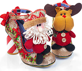 Irregular Choice Christmas Cheer Heeled Character T-Bar Shoes (7.5 UK, Red/Gold (Red/Gold A))