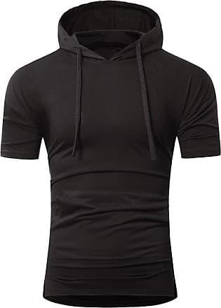 NPRADLA Men Summer Fashion Hooded Pullover Mens Short-Sleeved T-Shirt Tops Short Polo Shirt Short Tops Black