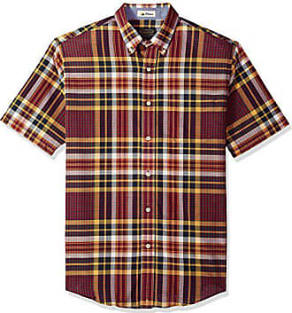 Pendleton Mens Short Sleeve Button Front Seaside Shirt, Plum Navy Gold Plaid, MD