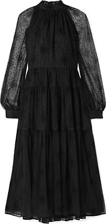 Co Ruffled Tiered Embroidered Tulle Midi Dress - Black