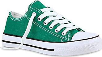 f13c23b01d3e15 Stiefelparadies Sportliche Damen Sneakers Metallic Schnürer Sneaker Low  Spitze Turn Blumen Denim Stoff Flats Schuhe 118957