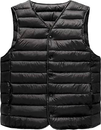 H&E Mens Light Weight Waistcoat V Neck Parkas Coat Jacket Quilting Vest Black S