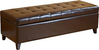 BEST SELLING HOME Best Selling Mission Brown Tufted Leather Storage Ottoman Bench