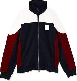 A X Armani Exchange A X Armani Exchange Mens Colorblock Zip Up Sweatshirt, Pomegranate/White/Black, XL