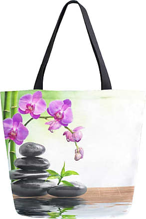 NaiiaN Shoulder Bags Japanese Flower Orchid Zen Stone Bamboo Happy Versatile Large Handbags for Women Girls Ladies Student Purse Shopping Light Weight Strap