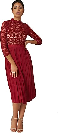 Little Mistress Alice Oxblood 3/4 Sleeve Crochet Top Midi Dress with Pleated Calf-Length Skirt, Narrow 3/4 Length Sleeves and lace-Trim Neckline. Zip Fastening. 16 UK