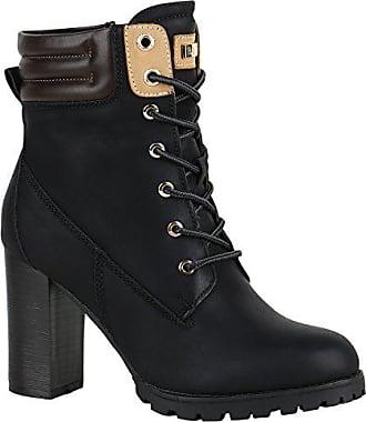 39e584c3ba86a2 Stiefelparadies Damen Schuhe Schnürstiefeletten Worker Boots Stiefeletten  Block Absatz 150549 Schwarz Autol 36 Flandell