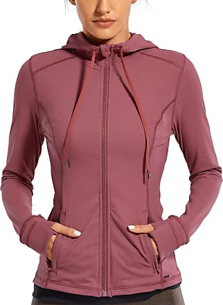 CRZ YOGA Womens Matte Brushed Full Zip Hoodie Jacket Sportswear Hooded Workout Jacket with Zip Pockets Misty Merlot 10