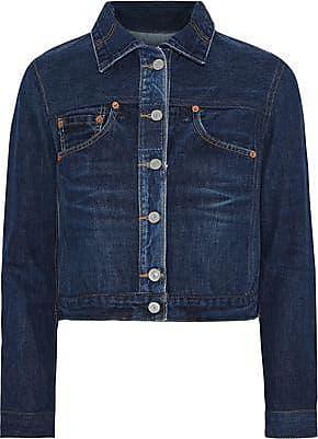 Re/Done Re/done By Levis Woman Distressed Denim Jacket Dark Denim Size XS