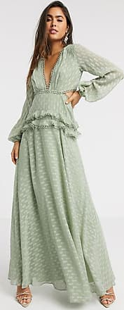 Asos jacquard tiered maxi dress with lace trim detail in sage-Green