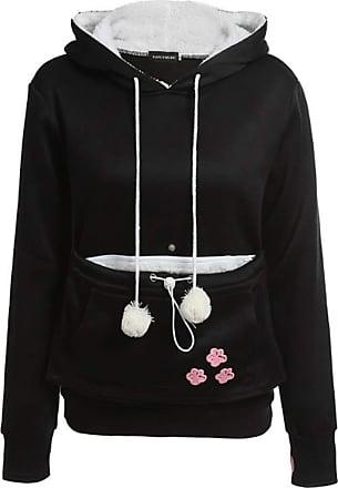 Inlefen Womens Cute Kangaroo Pocket Hoodie Long Sleeve Slim fit Pullover Casual wear Sweatshirt Black 2XL