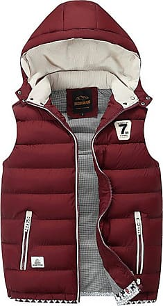 ZongSen Body Warmers for Mens Gilet Padded Jacket Coat Vest Lightweight Gilets with Inner Pockets Wine Red XXL