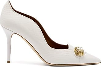 Malone Souliers Alessia Crystal-brooch Elaphe Pumps - Womens - White