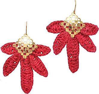 Tinna Jewelry Brinco Dourado Folha Bananeira (Vermelho)